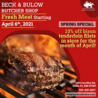 Beck & Bulow Butcher Shop: Fresh Cut Meat Beginning April 6th, 2021